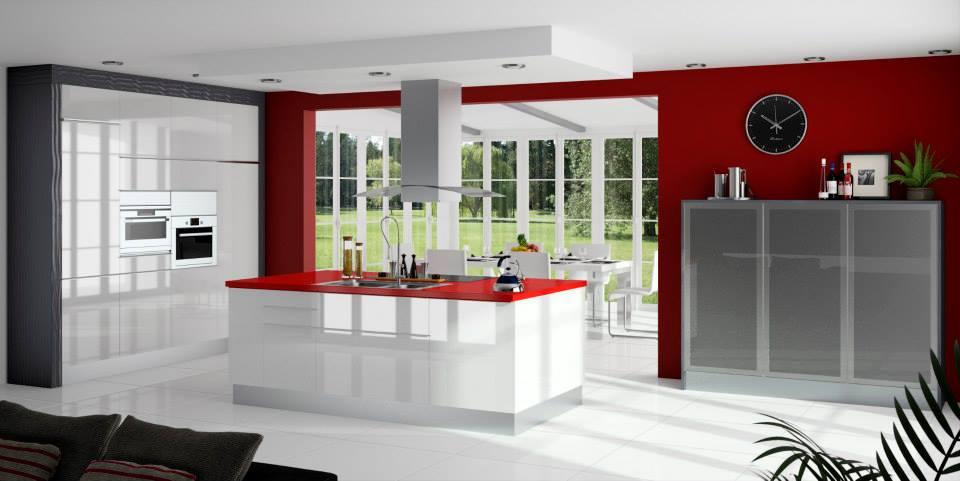 cocina blanca y roja