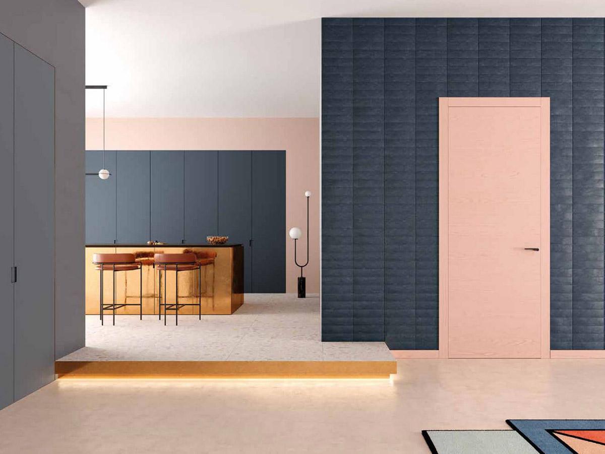 Puerta batiente de interior modelo Zero en cocina de piso moderno - Ferrero Legno